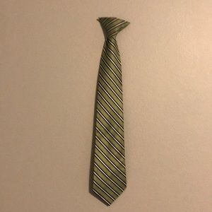 Boys green and black striped tie